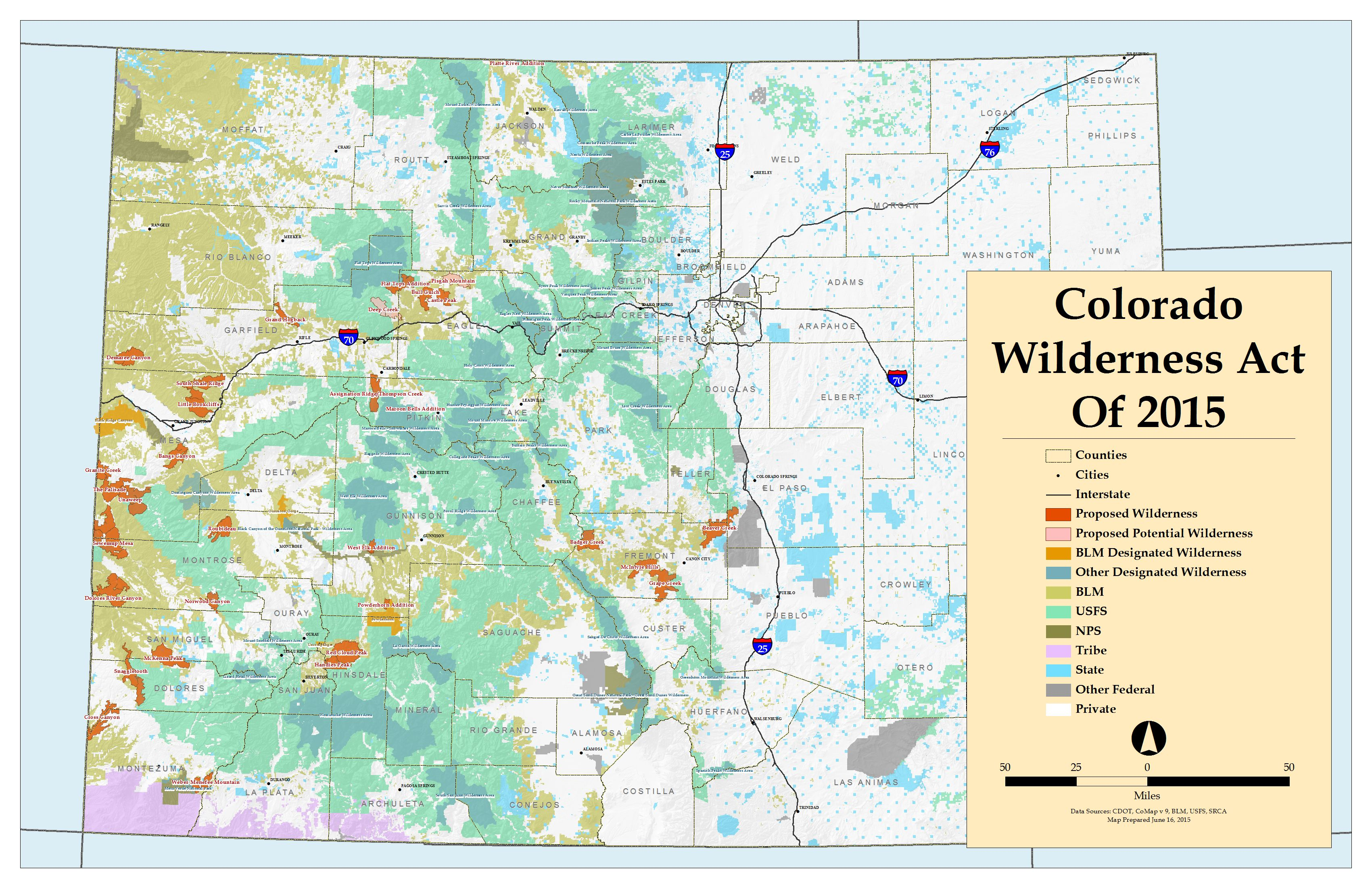 Colorado Wilderness Act of 2015 Map
